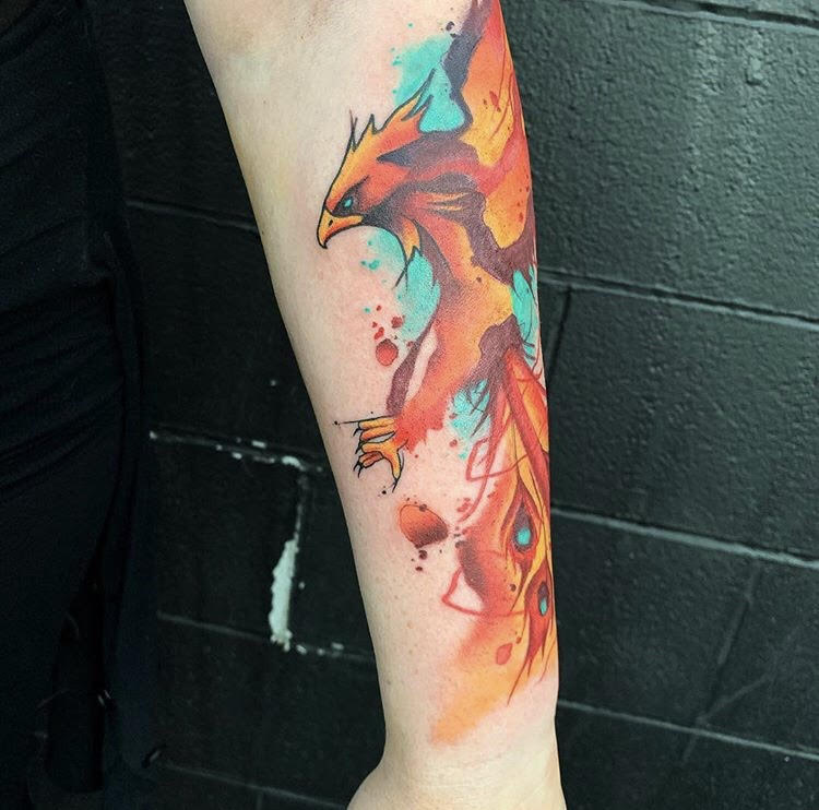 Custom Water Color Flying Pheonix Tattoo by Skyler at Certified Tattoo Studios Denver Co.jpg