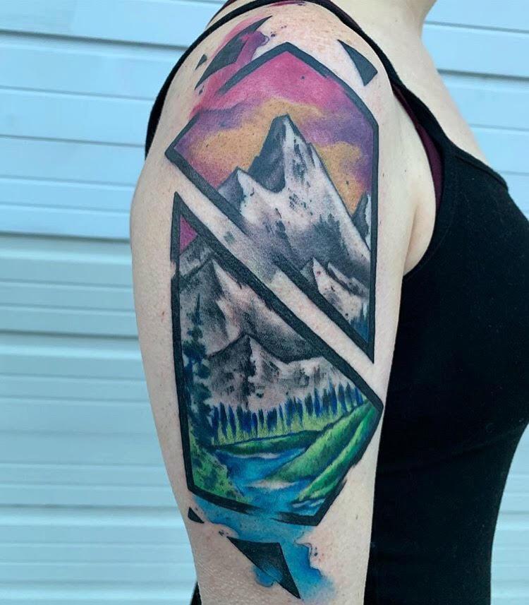 Custom Water Color Mountain Scene Tattoo by Skyler at Certified Tattoo Studios Denver Co.jpg