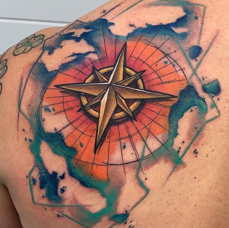 Custom Water Color Compass Tattoo by Skyler at Certified Tattoo Studios Denver Co.jpg