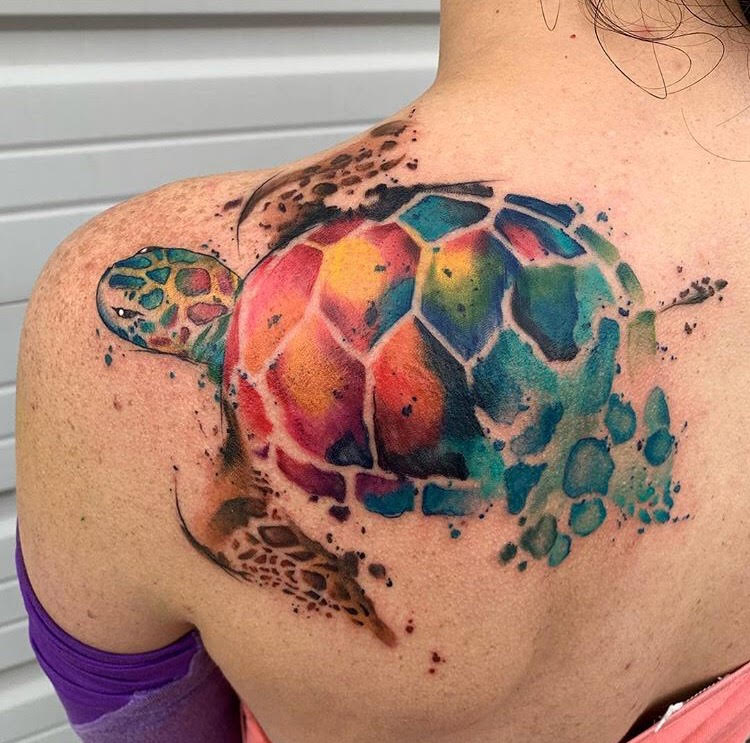 Custom Water Color Sea Turtle Tattoo by Skyler at Certified Tattoo Studios Denver CO.jpg