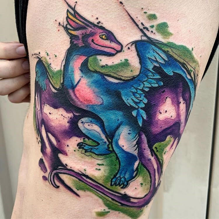 Custom Water Color Purple Dragon Tattoo by Skyler at Certified Tattoo Studios Denver Co.jpg
