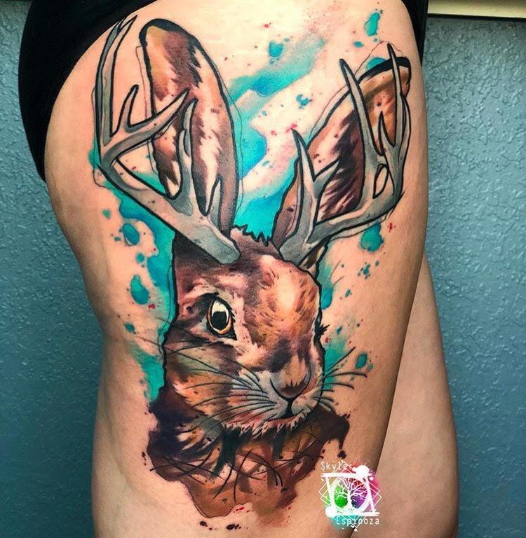 Custom Water Color Jackalope Tattoo by Skyler at Certified Tattoo Studios Denver CO.jpg