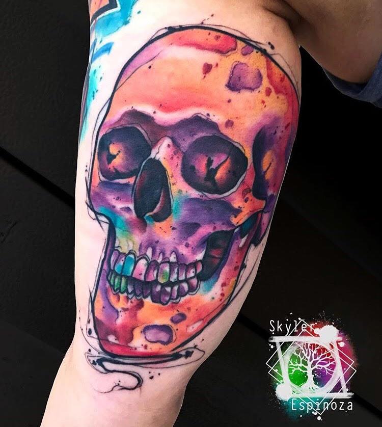 Custom Water Color Multi Colored Skull Tattoo by Skyler Espinoza at Certified Tattoo Studios Denver CO.jpg