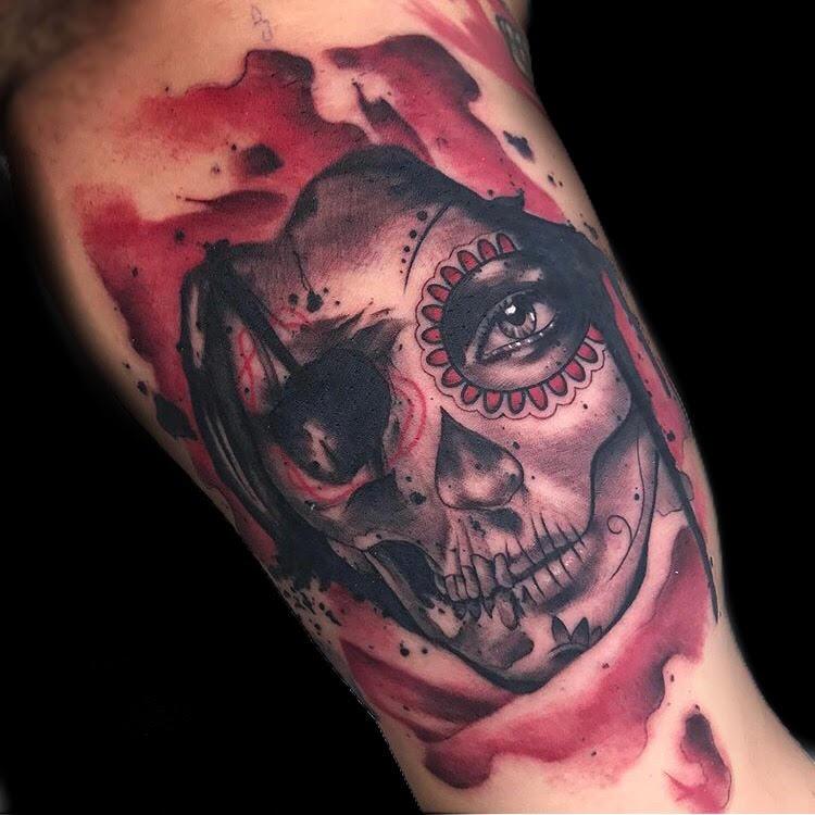 Custom Water Color Sugar Skull Tattoo by Skyler Espinoza at Certified Tattoo Studios Denver Co.jpg