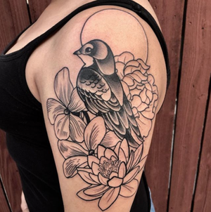 Custom Black and Grey Bird sitting in Flowers Neo Traditional Style Tattoo by Alec at Certified Tattoo Studios Denver CO  (3).png