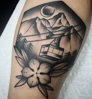 Custom Black and Grey Mountain Scene with Columbine Flower Neo Traditional Style Tattoo by Alec at Certified Tattoo Studios Denver CO  (4).jpg