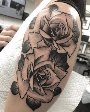 Custom Black and Grey Roses Neo Traditional Style Tattoo by Alec at Certified Tattoo Studios Denver CO  (6).jpg