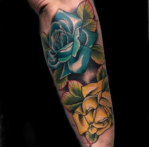 Custom Full Color Yellow and Blue Roses Neo Traditional Style Tattoo by Alec at Certified Tattoo Studios Denver CO  (14).jpg