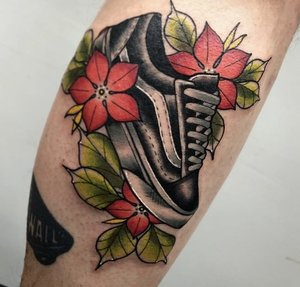 Custom Vans Shoe  and Flowers Neo Traditional Style Tattoo by Alec at Certified Tattoo Studios Denver CO  (25).jpg