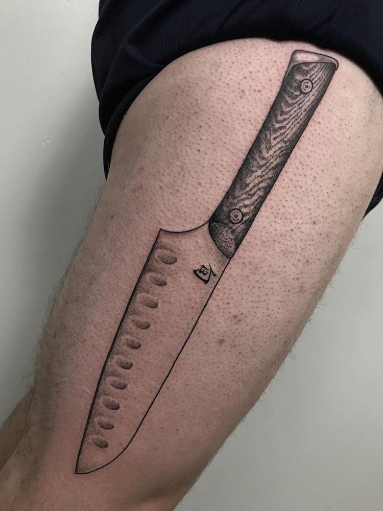 Custom Black Work Kitchen Knife Tattoo by Jon Hanna at Certified Tattoo Studios Denver CO.jpg