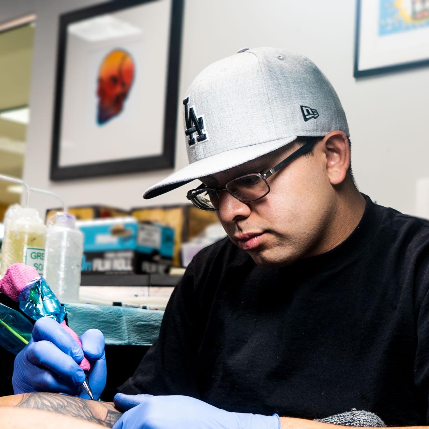 MEIKEL CASTELLON - LOCATION: HeadquartersSpecializes in Black Work Tattoos.