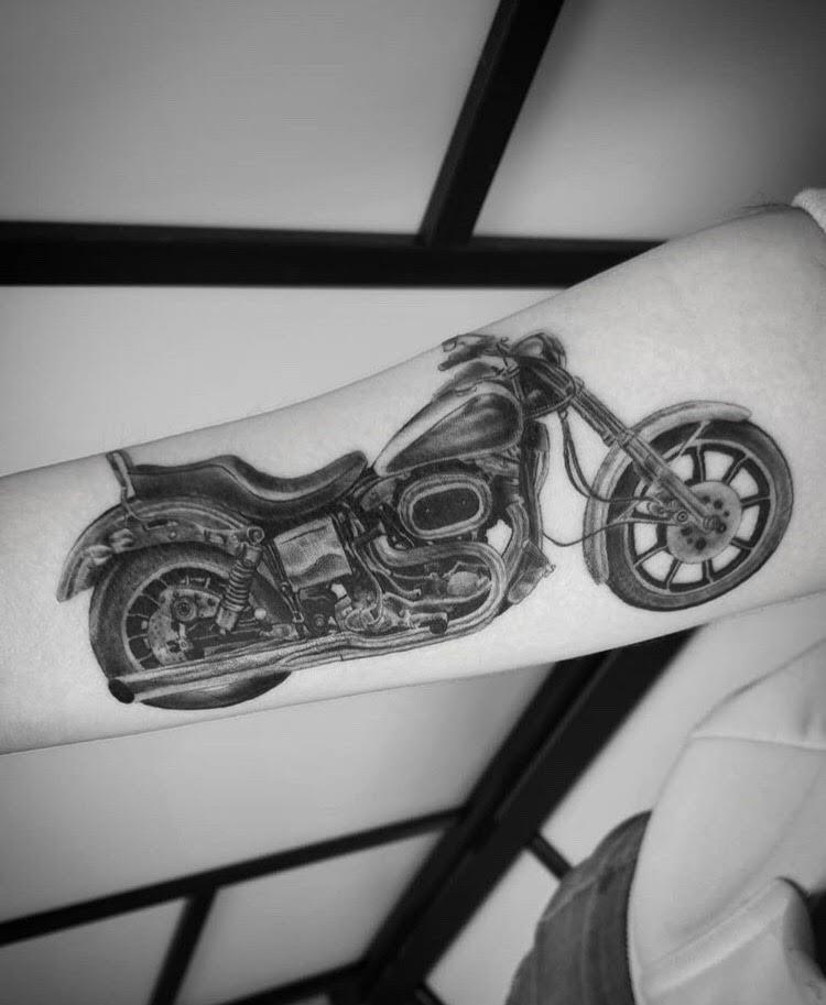 Custom Black and Grey Harley Davidson Tattoo by Alix at Certified Tattoo Studios Denver Co.jpg