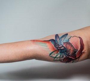 Custom Color Illustrative Humming Bird Tattoo by DavidP at Certified Tattoo Studios Denver Co.jpg