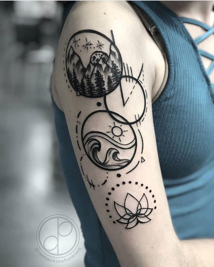 Custom Fine Circles with Mountain Scene Waves and Lotus Flower Tattoo by David at Certified Tattoo Studios Denver CO.jpg