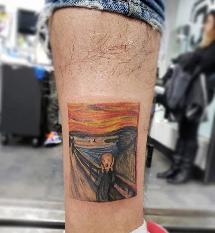 Custom The Scream inspired by Edvard Munch Tattoo by David Perea at Certified Tatto Studios Denver CO.jpg