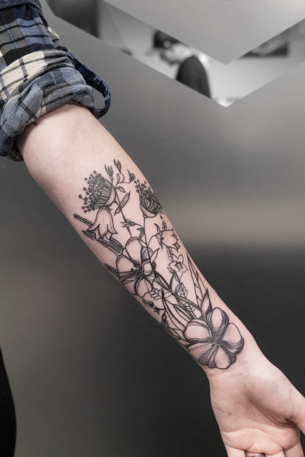Custom Black and Grey Wild Flowers Tattoo by Danielle at Certified Tattoo Studios Denver Co.jpg