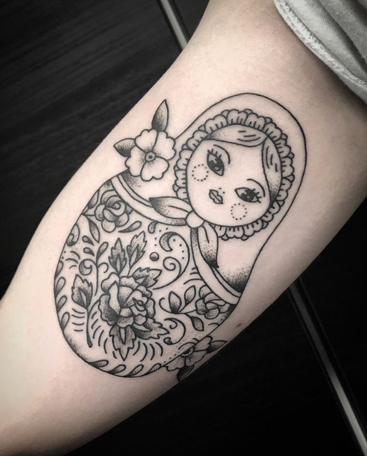 Custom Matryoshka Black Work Tattoo by Spencer Reisbeck at Certified Tattoo Studios Denver Co.jpeg