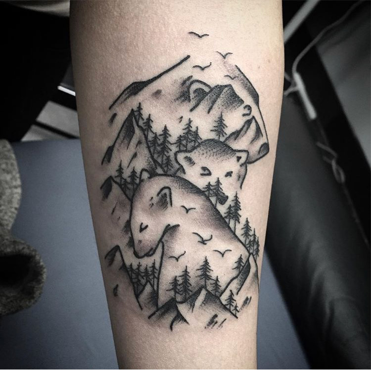 Custom Bears and Mountains Black Work Tattoo by Spencer Reisbeck at Certified Tattoo Studios Denver Co.JPG