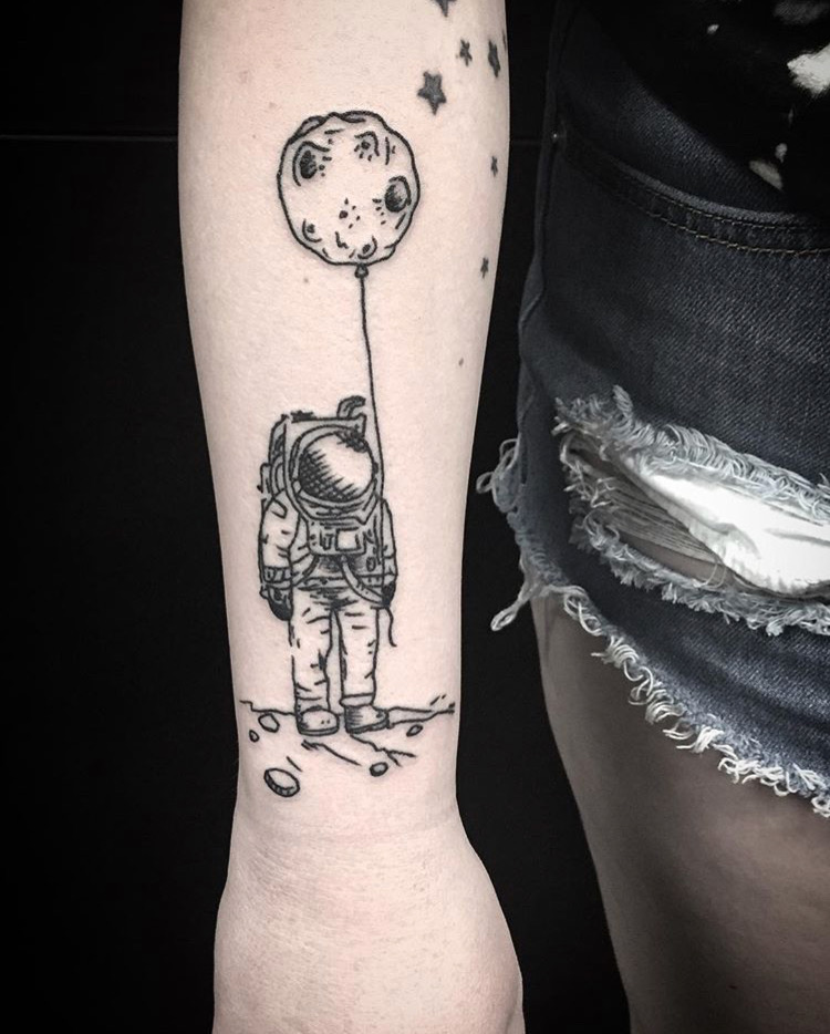 Custom Astronaunt with a Moon Ballon Tattoo by Spencer Reisbeck at Certified Tattoo Studios Denver Co.JPG