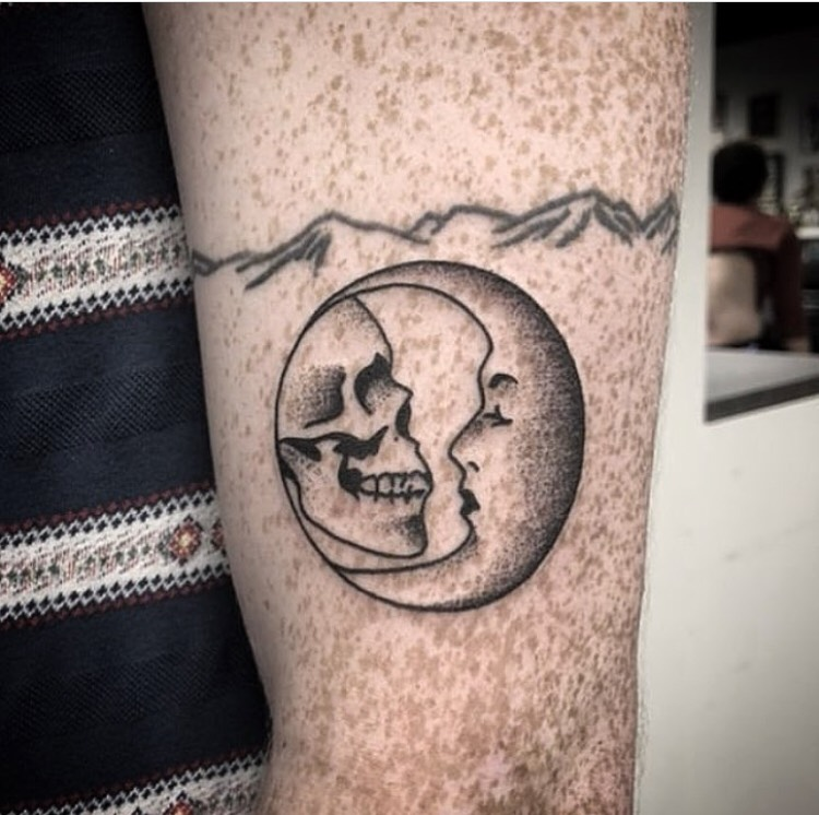Custom Skull and Cresent Moon Dot Work Tattoo by Spencer Reisbeck at Certified Tattoo Studios Denver Co.jpg