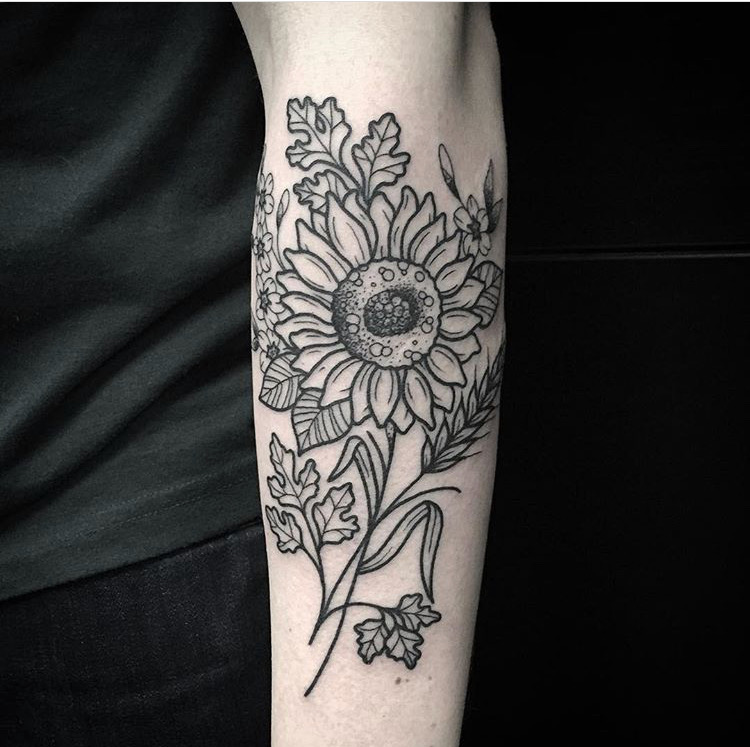 Custom Sunflower and Leaves Tattoo by Spencer Reisbeck at Certified Tattoo Studios Denver Co.JPG