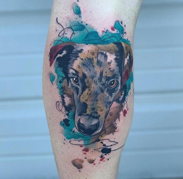 Custom Water Color Pet Dog Portrait Tattoo by Skyler Espinoza at Certified Tattoo Studios Denver CO.JPG