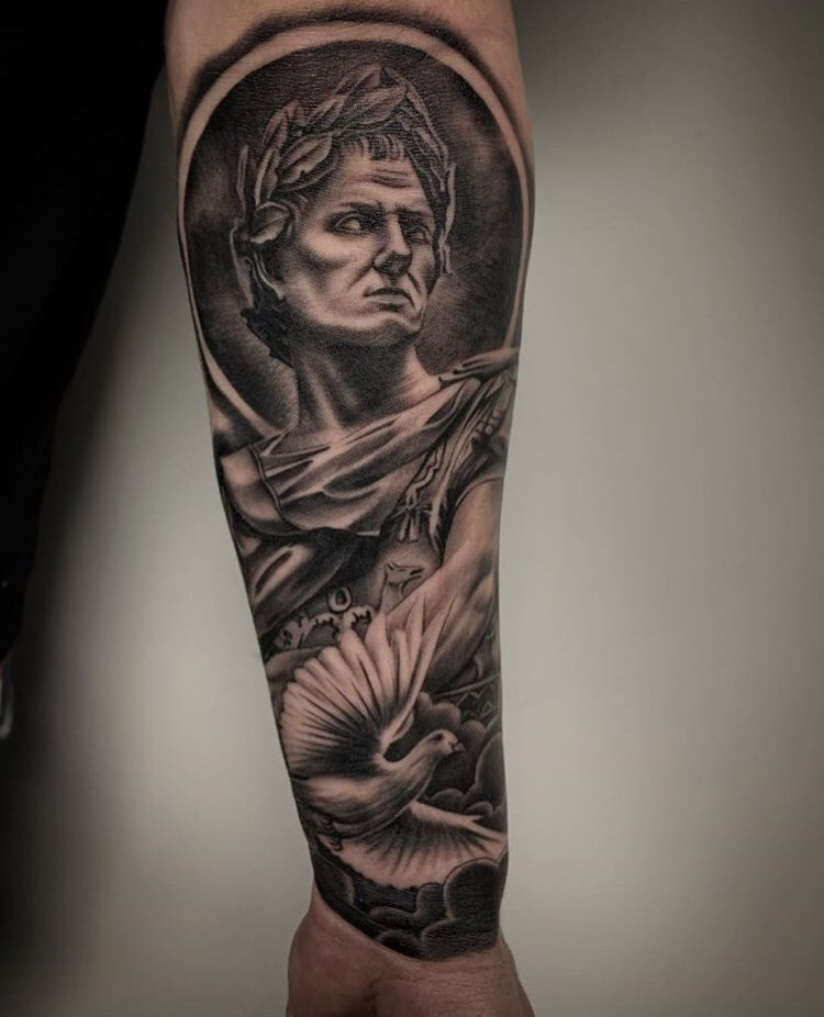 Custom Black and Grey Greek God with Flying Dove Tattoo by Salvador Diaz  at Certified Tattoo Studios Denver CO.jpeg