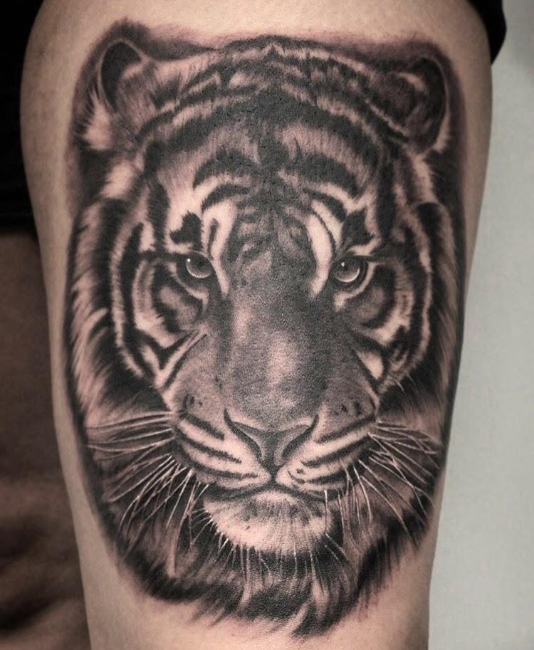 Custom Black and Grey Starring Tiger Head Portrait Tattoo by Salvador Diaz at Certified Tattoo Studios Denver Co.jpg