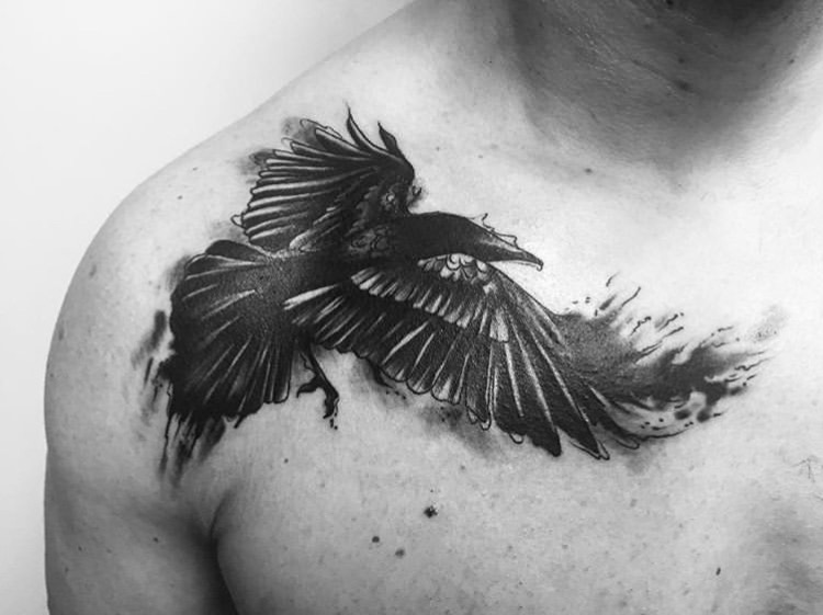 Custom Black Raven Tattoo By Ashley at Certified Tattoo Studios Denver Co  (3).JPG