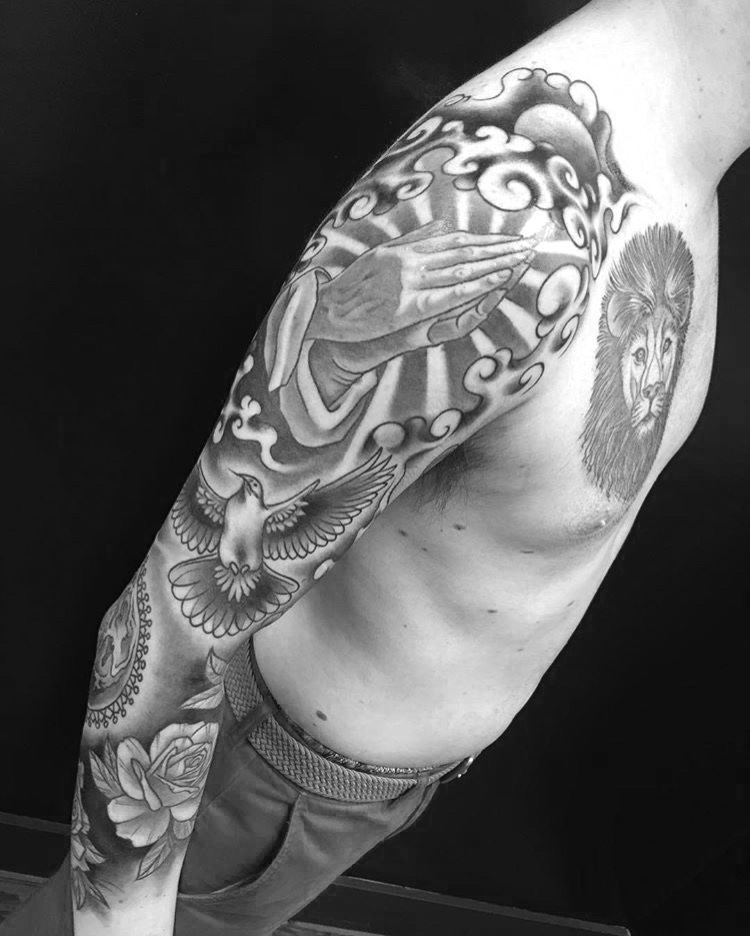 Custom Black and Grey Sleeve with Doves and Roses Tattoo By Ashley at Certified Tattoo Studios Denver Co  (6).JPG