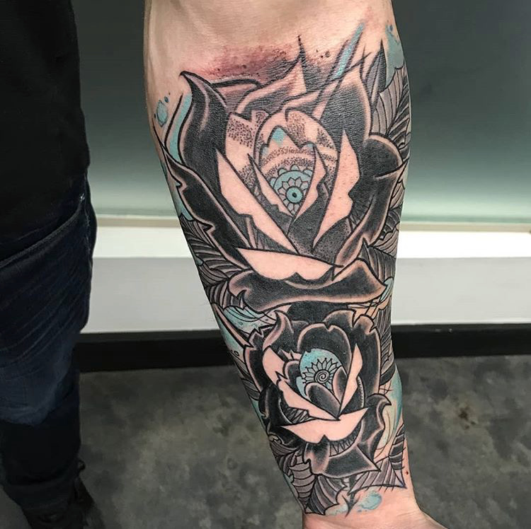 Custom Black WOrk Roses with Blue Accents Tattoo by Michael Myers At Certified Tattoo Studios Denver CO .JPG