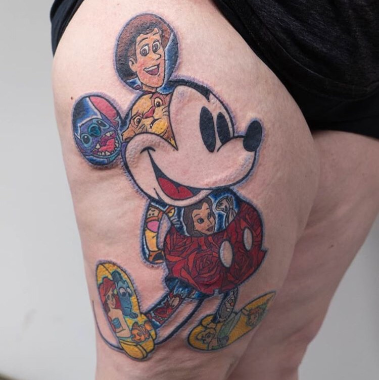 Custom Full Color Micky Mose Full of Disney Characters Tattoo by Michael Myers at Certified Tattoo Studios  Denver CO.jpeg