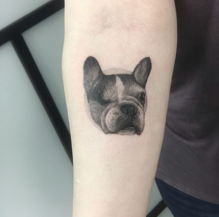 Custom Dotwork One Eyes Pet Bulldog Tattoo by BJ Storms at Certified Tattoo Denver Co.JPG