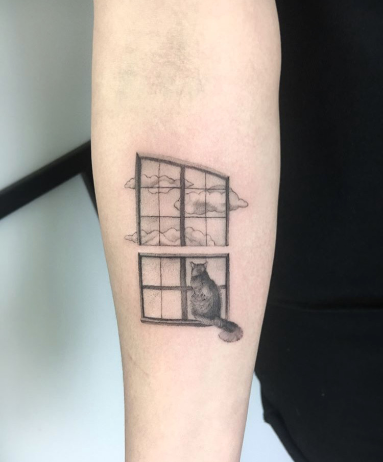 Custom Dotwork Cat in Window Tattoo by BJ Storms at Certfied Tattoo Studios Denver Co.JPG
