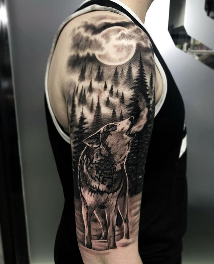 Custom Black and Grey Howling Wolf in Night Time Mountain Scene  Tattoo by Bryan Alfaro at Certified Tattoo Studios Denver Co.JPG