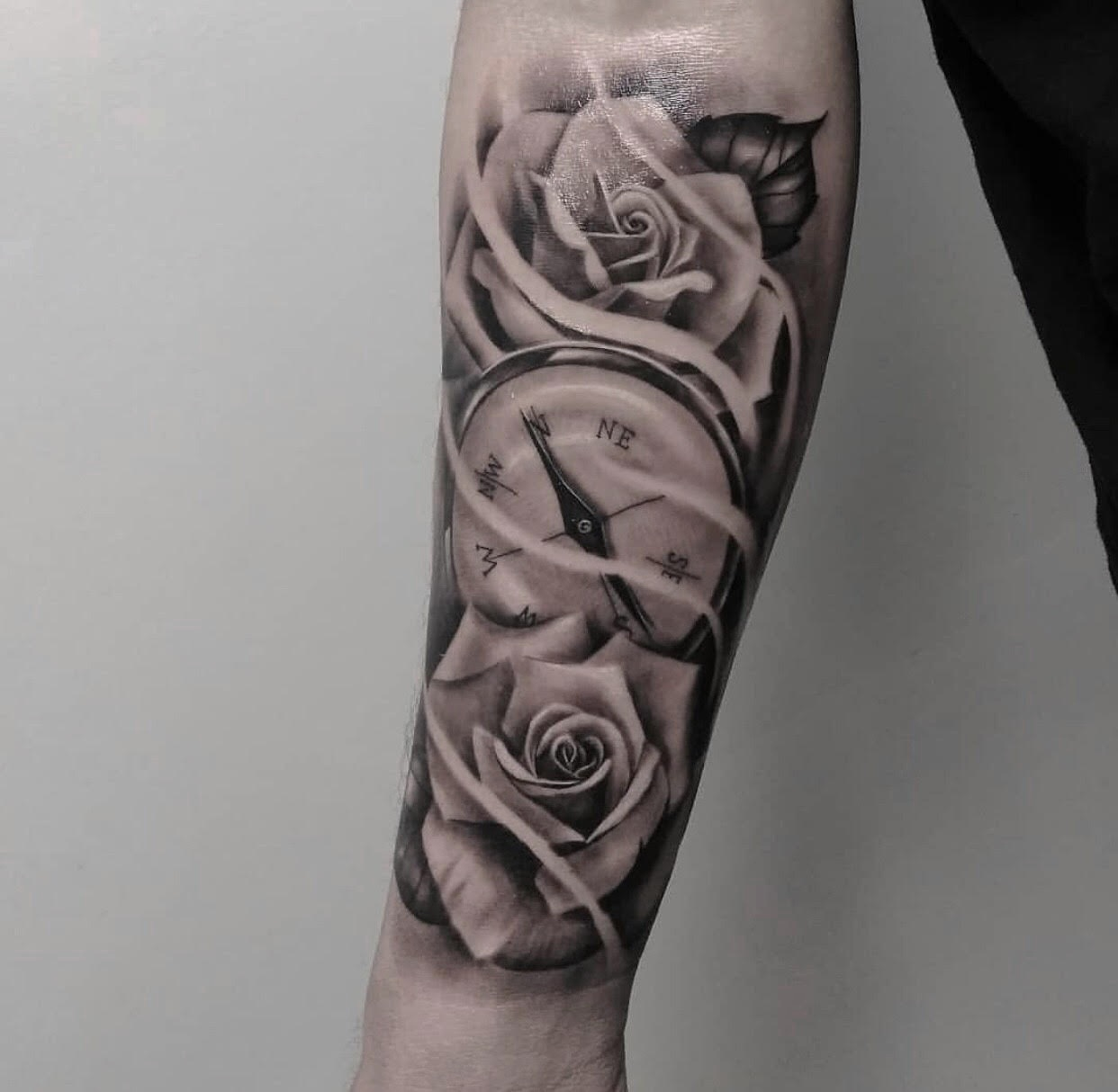 Custom-black-and-grey-Roses and Compass tattoo-by-+Bryan+Alfaro+at-certified-customs-denver-co-5.jpg