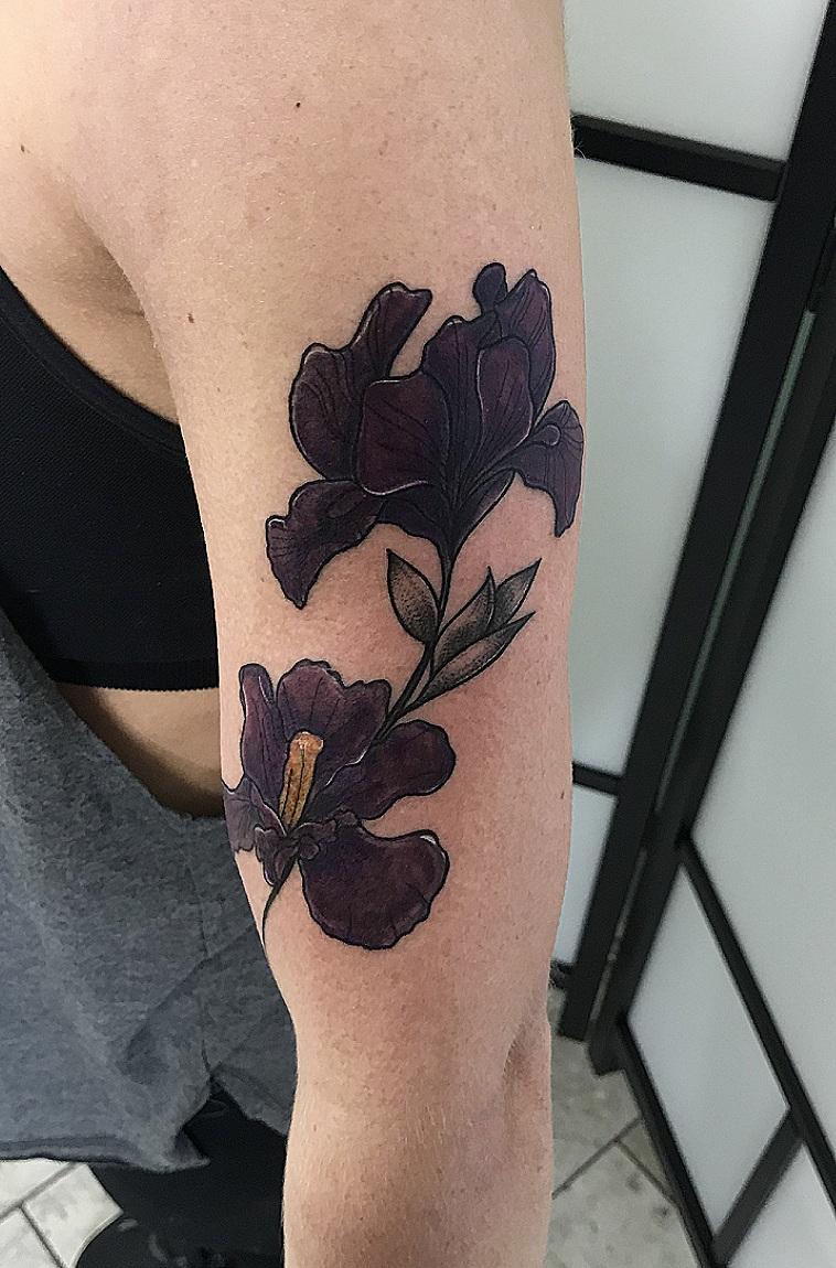 Custom VIolet Bearded Iris Flwer Tattoo by Danielle at Certified Tattoo Studios Denver CO .jpg