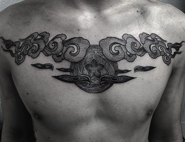 Custom Chest Piece Tibetan Clouds and Orbit of Venus Tattoo by Gabriel Mondragon at Certified Tattoo Studios Denver Co (11).JPG