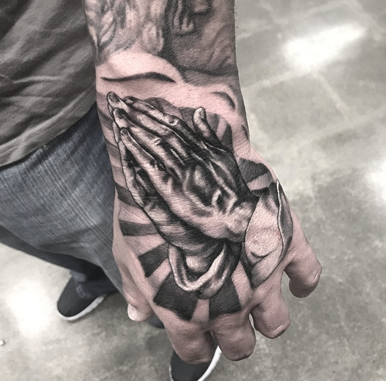 Custom Black and Grey Praying Hands Tattoo by Greg Paquin at Certified Tattoo Studios Denver CO (1).JPG