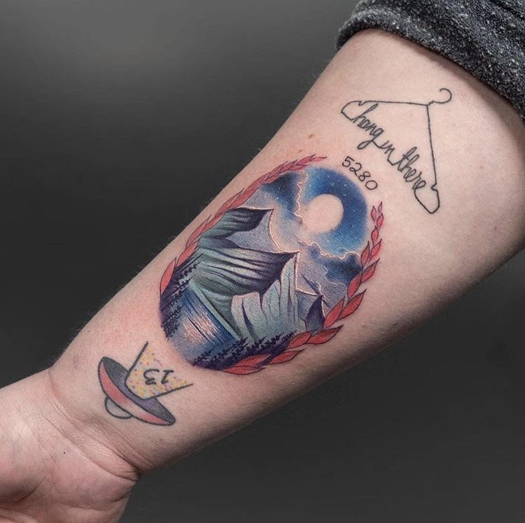 Custom Illustrative Mountain Scene Tattoo by Jean  at Certified Tattoo Studios Denver Co.jpg