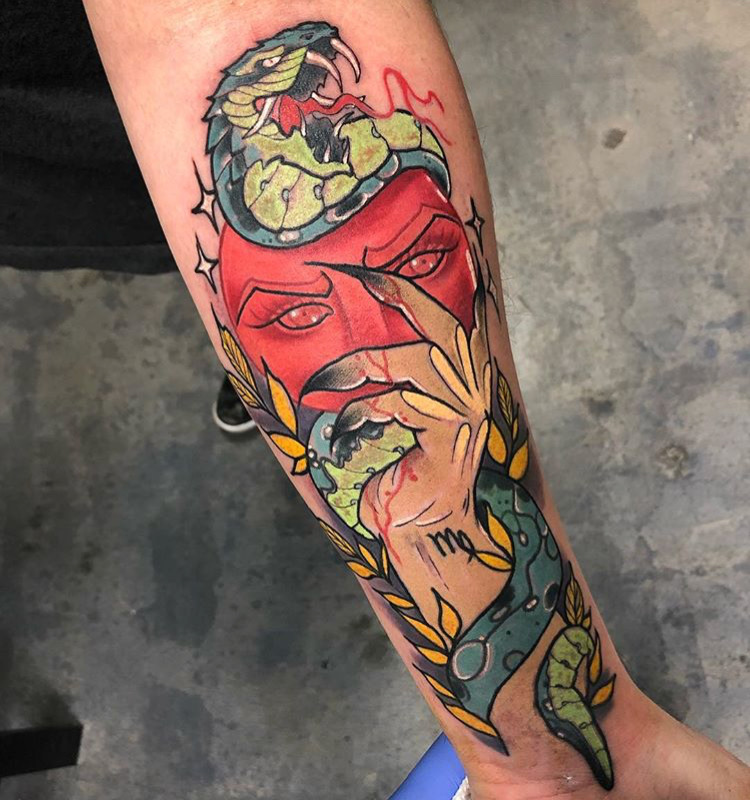 Custom Full Color Snake Wrapping around Hand and Mask Tattoo by Grime2 at Certified Tattoo Studios Denver Co.JPG