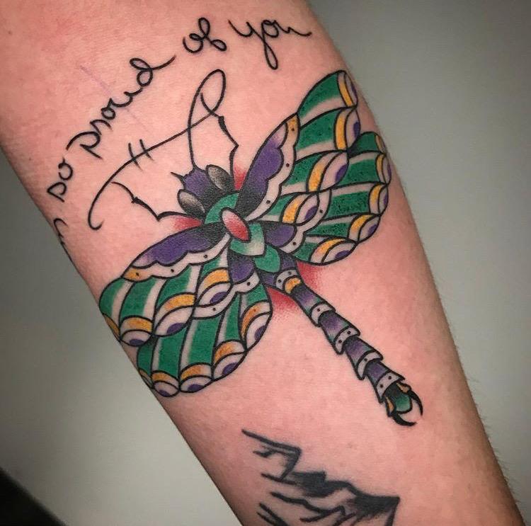 Custom Full Color Traditional Dragon Fly Tattoo by Jon Hanna at Certified Tattoo Studios Denver Co  (6).JPG