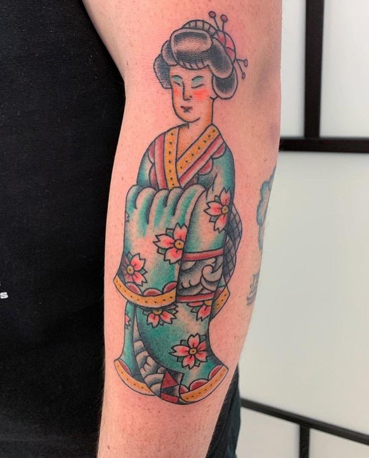 Custom Full Color Traditional Geisha Tattoo by Jorden Spencer at Certified Tattoo Studios Denver CO  (3).JPG