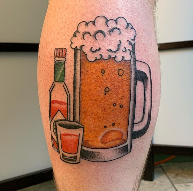 Custom Full Color Traditional Jug of Beer and Hot Sauce Tattoo by Jorden Spencer at Certified Tattoo Studios Denver CO  (1).JPG