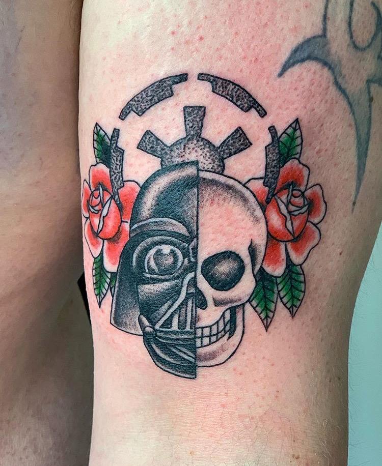 Custom Star Wars Darth Vader Half Skull Tattoo by Jorden Spencer at Certified Tattoo Studios Denver CO  (2).JPG