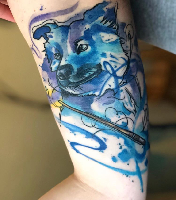 Custom Abstract Water Color Pet Dog Portrait Tattoo by Skyler Espinoza at Certified Tattoo Studios Denver CO.JPG