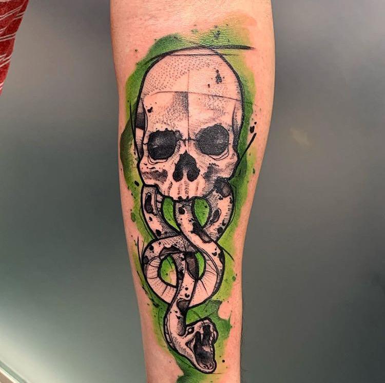 Custom Water Color Skull and Snake Tattoo by Skyler Espinoza at Certified Tattoo Studios Denver Co.JPG