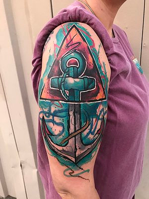 Water Color Anchor Tattoo by Skyler Espinoza at Certified Tattoo Studios in Denver Co.jpg