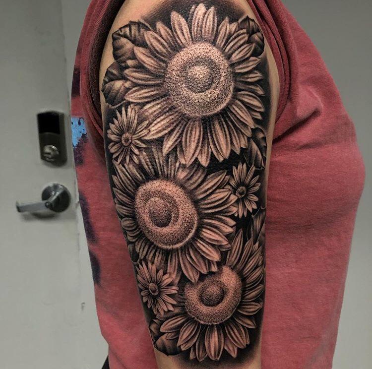 Custom Black and Grey Sun Flowers Tattoo by Ramon Marquez at Certified Tattoo Studios Denver Co.jpeg