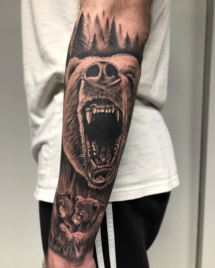 Custom Black and Grey Roaring Bear and Cubs Tattoo by Ramon Marquez at Certified Tattoo Studios Denver CO.JPG